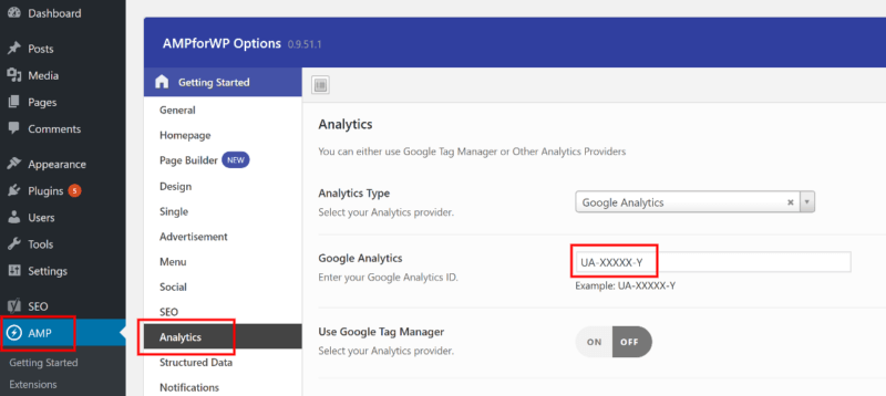 تنظیمات Google Analytics